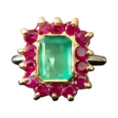 3.50 Carat Vintage Emerald Ruby Cocktail Ring 18 Karat and Platinum