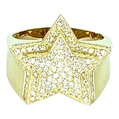 3.50 Carat VS Diamonds Big 3D Star Ring 14k Gold