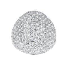 3.50 Carats 201 Round White Diamonds Bombe Cocktail Ring, 18 Karat White Gold