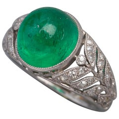 3.50 Carat Antique Colombian Emerald Ring, Platinum and Diamonds
