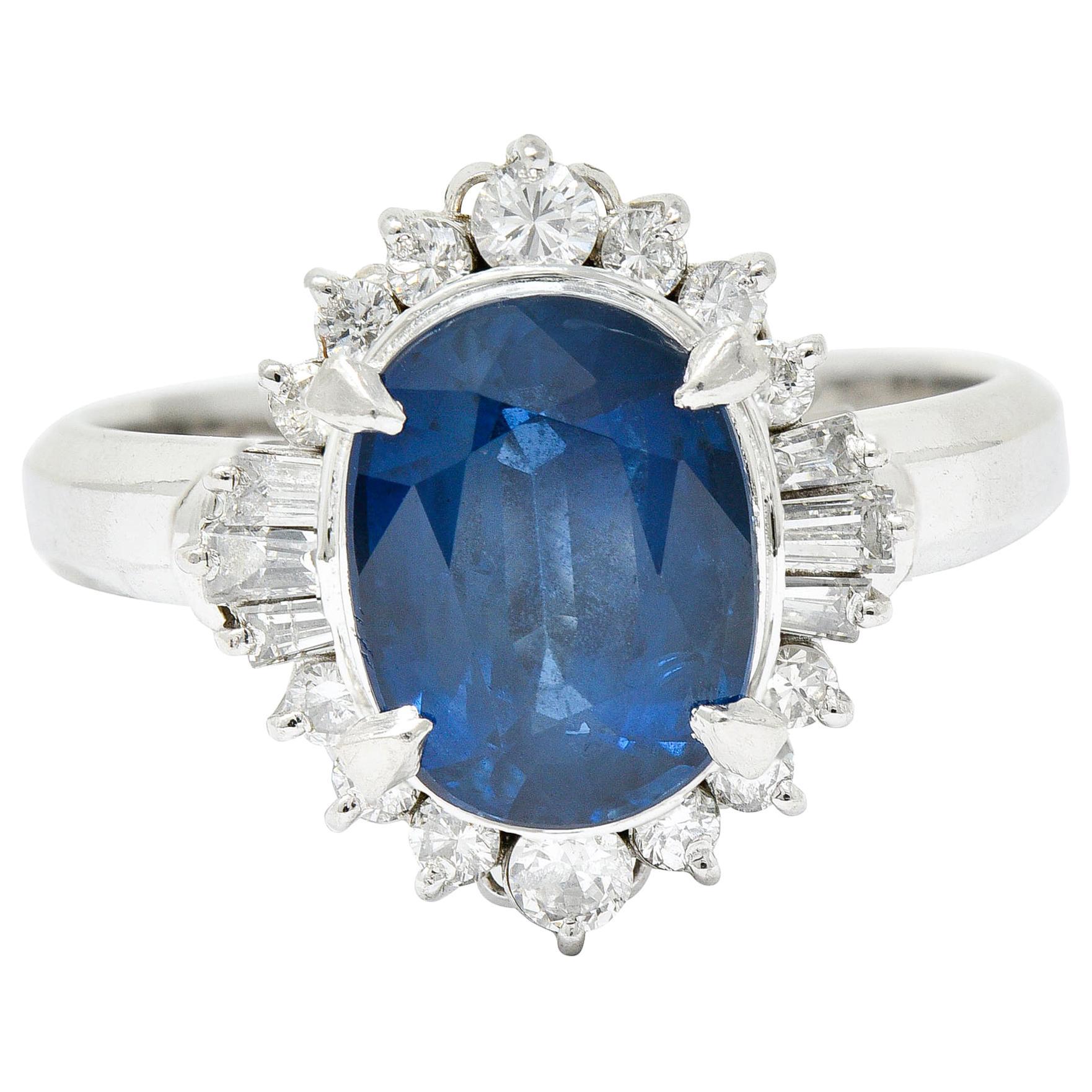 3.50 Carats Blue Sapphire Diamond Platinum Cluster Ring
