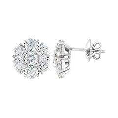 3.50 Carats Diamond Cluster White Gold Flower Stud Earrings