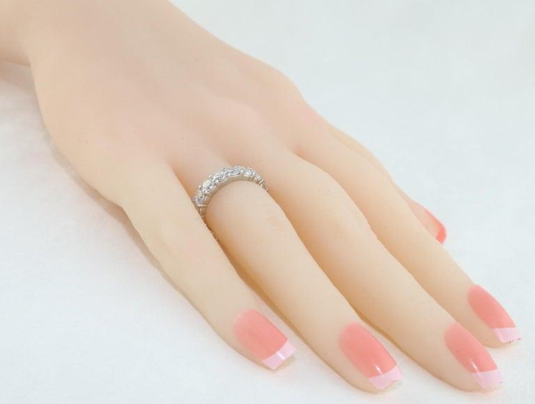 Round Cut 3.50 Carat Diamond Platinum Eternity Band Ring For Sale