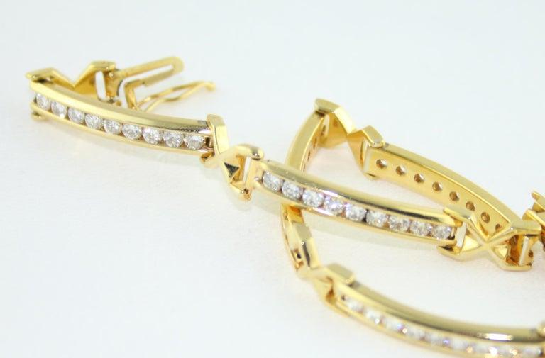 Women's 3.50 Carat Diamond Yellow Gold Tennis Bracelet For Sale