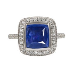 3.50 Ct Sapphire Diamond Cocktail Ring Hal Cushion Shape White Gold