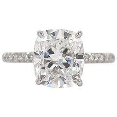 3.50 Cushion Brilliant GIA Certified D VS1 Diamond Ring by J Birnbach