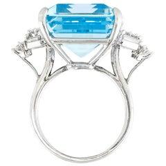 35.00 Carat Art Deco Aquamarine Ring