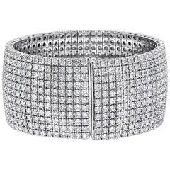 35.05 Carat 18 Kt White Gold Flexible Diamond Cuff  Bangle Bracelet