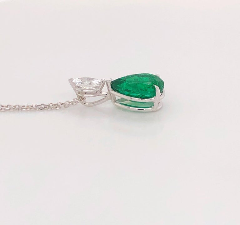 Pear Cut 3.50ct  Pear Shape Natural Emerald & 0.45ct Marquise Shaped Diamond Pendant, 18K For Sale