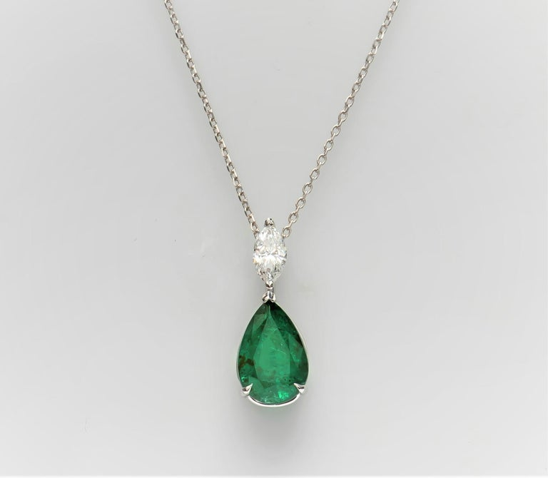 3.50ct  Pear Shape Natural Emerald & 0.45ct Marquise Shaped Diamond Pendant, 18K In New Condition For Sale In Houston, TX