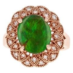 3.51 Carat Ammolite Diamond 14 Karat Rose Gold Cocktail Ring