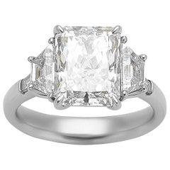 3.51 Carat GIA Radiant Cut Diamond Platinum Five-Stone Ring