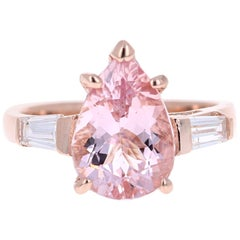 3.51 Carat Pear Cut Pink Morganite Diamond 14 Karat Rose Gold Engagement Ring