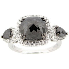3.51 Carat Rose Cut Black and White Diamond Ring