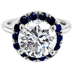 3.51 Carat Round Brilliant Diamond Sapphire Halo Ring