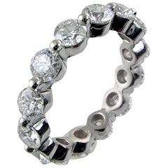 3.51 Carat Share Prong Round Brilliant Diamond Platinum Eternity Ring