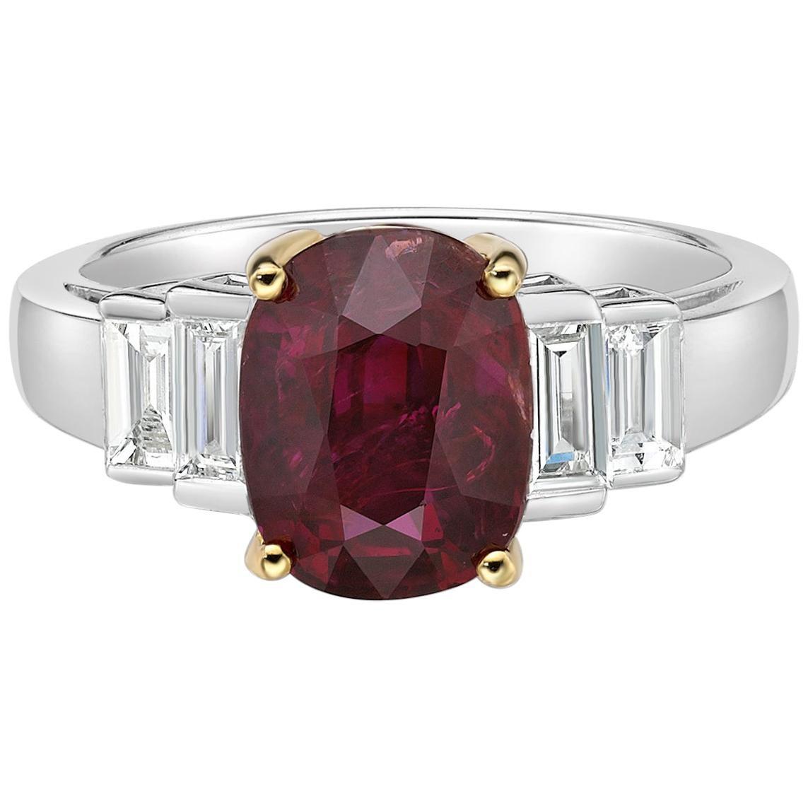 3.51 Carat  Ruby GIA Certified Unheated Diamond Ring Oval Cut