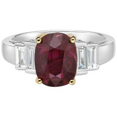 3.51 Carat Vivid Red Ruby GRS Certified Non Heated Diamond Ring Oval Cut