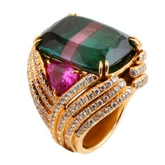 35.12 Ct Green Tourmaline Pink Sapphire Diamond EMPRESS Ring John Landrum Bryant