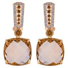 35.15 Carat Champagne Quartz Briolette Diamond 18 Karat Yellow Gold Earring