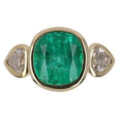 3.51tcw 18K Three Stone Cushion Cut Emerald & Diamond Hearts Ring
