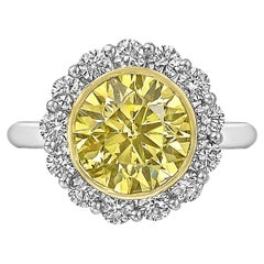 3.52 Carat Fancy Intense Yellow Diamond Ring 'SI2'