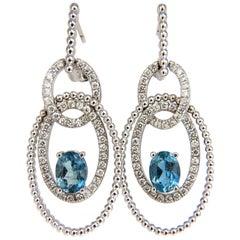 3.52 Carat Natural Blue Aquamarine Diamonds Earrings 14 Karat Dangle Loops
