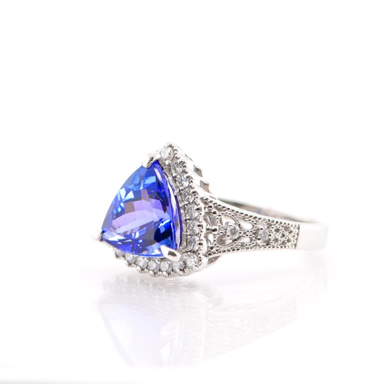 Modern 3.52 Carat Trillion Cut Tanzanite and Diamond Cocktail Ring Set in Platinum For Sale