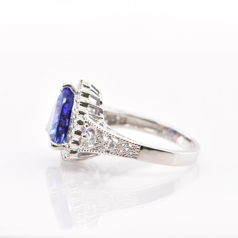 Women's 3.52 Carat Trillion Cut Tanzanite and Diamond Cocktail Ring Set in Platinum For Sale