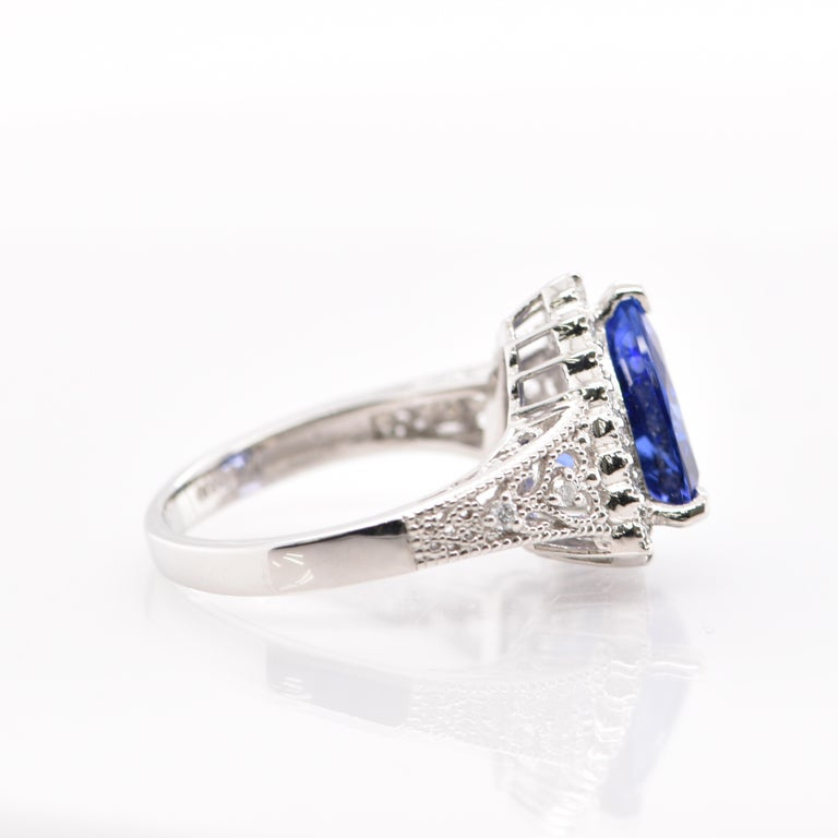3.52 Carat Trillion Cut Tanzanite and Diamond Cocktail Ring Set in Platinum For Sale 1