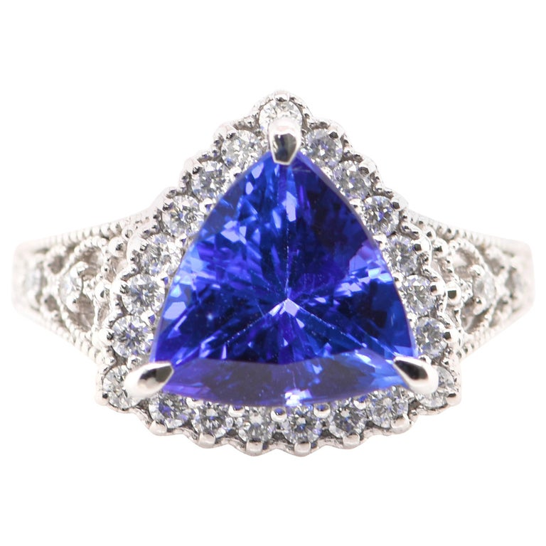 3.52 Carat Trillion Cut Tanzanite and Diamond Cocktail Ring Set in Platinum For Sale