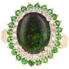 3.53 Carat Ammolite Diamond 14 Karat Yellow Gold Ring