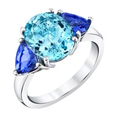 3.53 Carat Aquamarine Ring with Blue Sapphires 18k White Gold