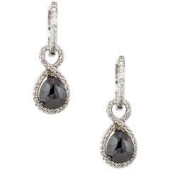 3.53 Carat Black Pear Diamond Halo Earrings 14 Karat in Stock