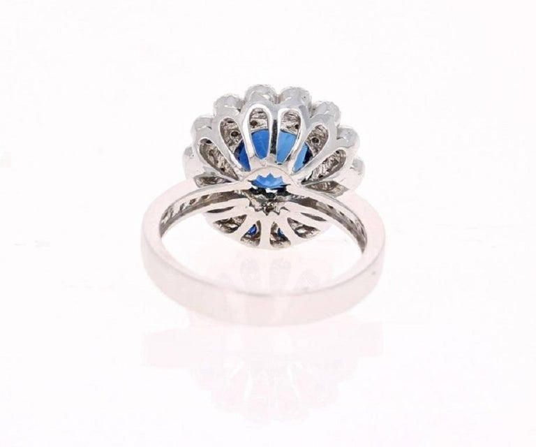 Round Cut Blue Sapphire Diamond 3.53 Carat Engagement Ring For Sale