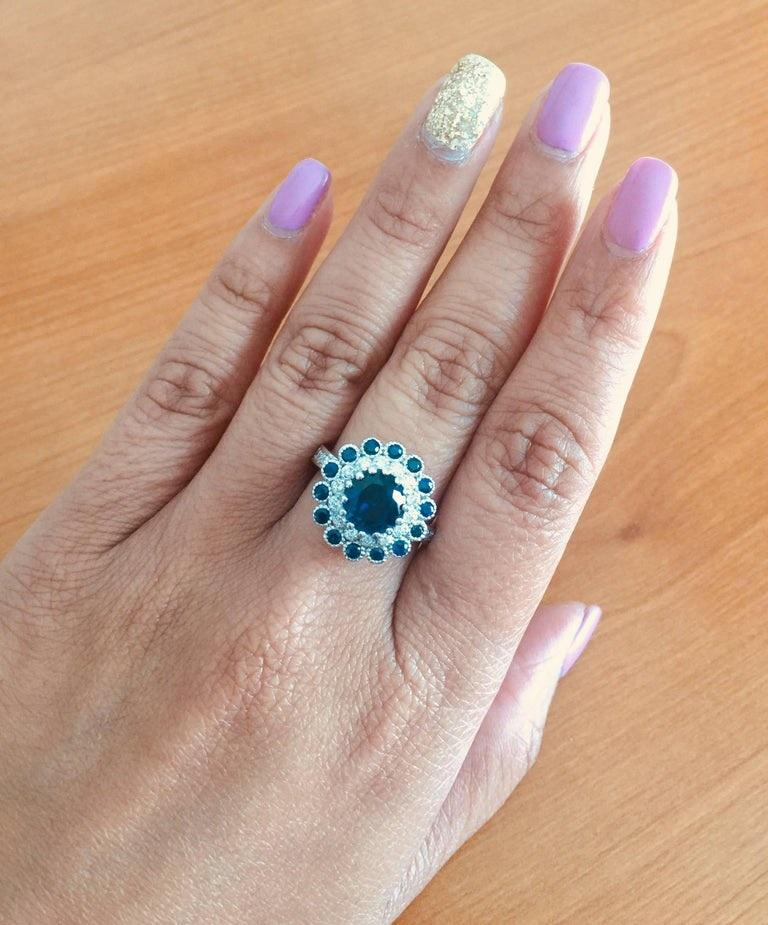 Blue Sapphire Diamond 3.53 Carat Engagement Ring In New Condition For Sale In Los Angeles, CA
