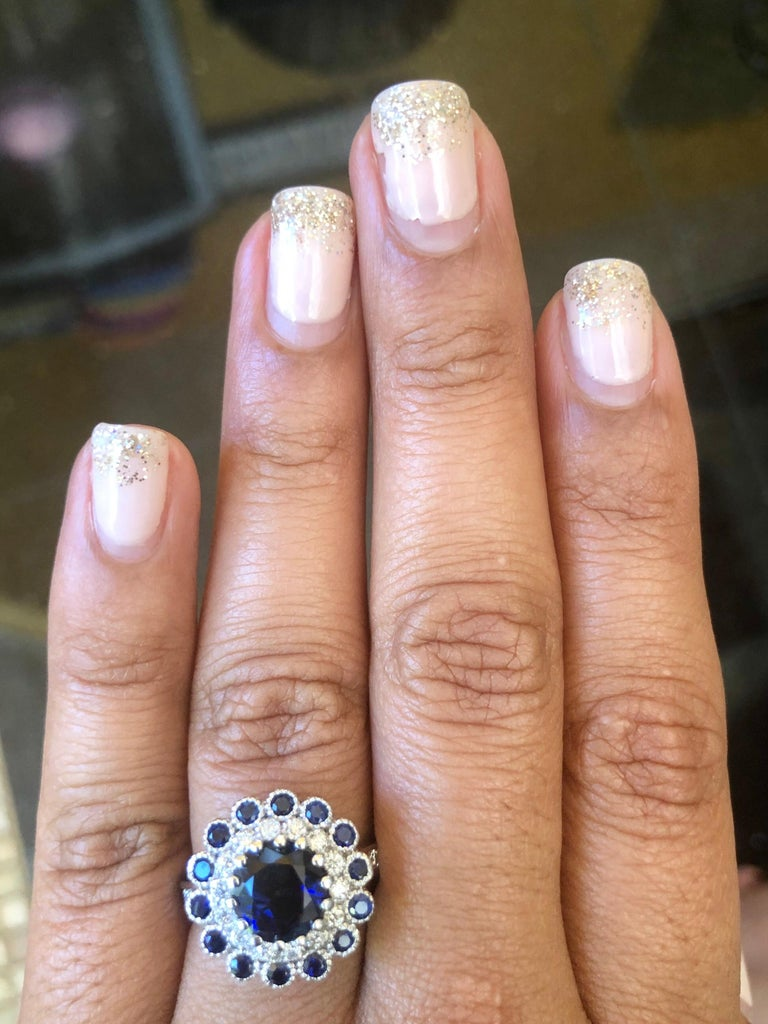 Women's Blue Sapphire Diamond 3.53 Carat Engagement Ring For Sale