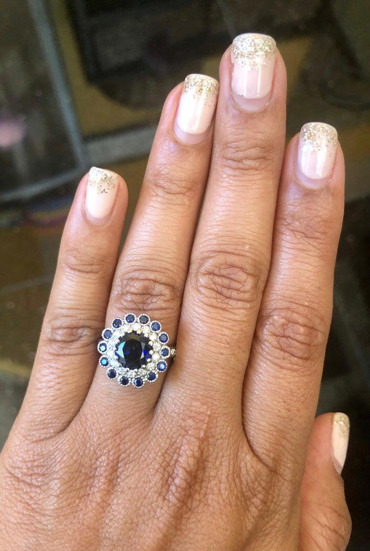 Blue Sapphire Diamond 3.53 Carat Engagement Ring For Sale 1
