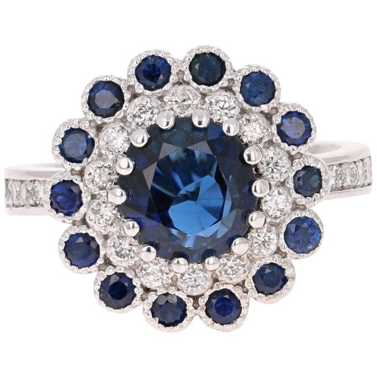 Blue Sapphire Diamond 3.53 Carat Engagement Ring For Sale