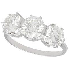 3.53 Carat Diamond and Platinum Trilogy Ring, Vintage, circa 1950
