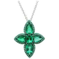 3.53 Carat Emeralds and White Diamonds Green Coated Cross Pendant Necklace