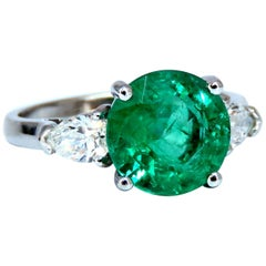 3.53 Carat Natural Round Emerald Diamonds Three-Stone Ring 14 Karat