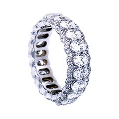 3.53 Carat Oval Brilliant Diamond Shared Prong Eternity Ring with Pave Set Edge