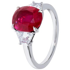 3.53 Vivid Red Ruby Trilogy Ring with White Diamond Detail