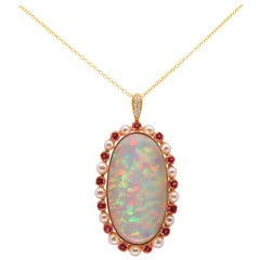 35.32 Carat Opal, Pink Sapphire, Pearl and White Diamond Pendant 14K Yellow Gold