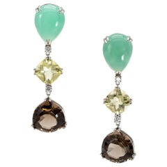 35.34 Carat Chrysoprase, Lemon Quartz, Smoky Quartz, and Diamond Earrings Plat