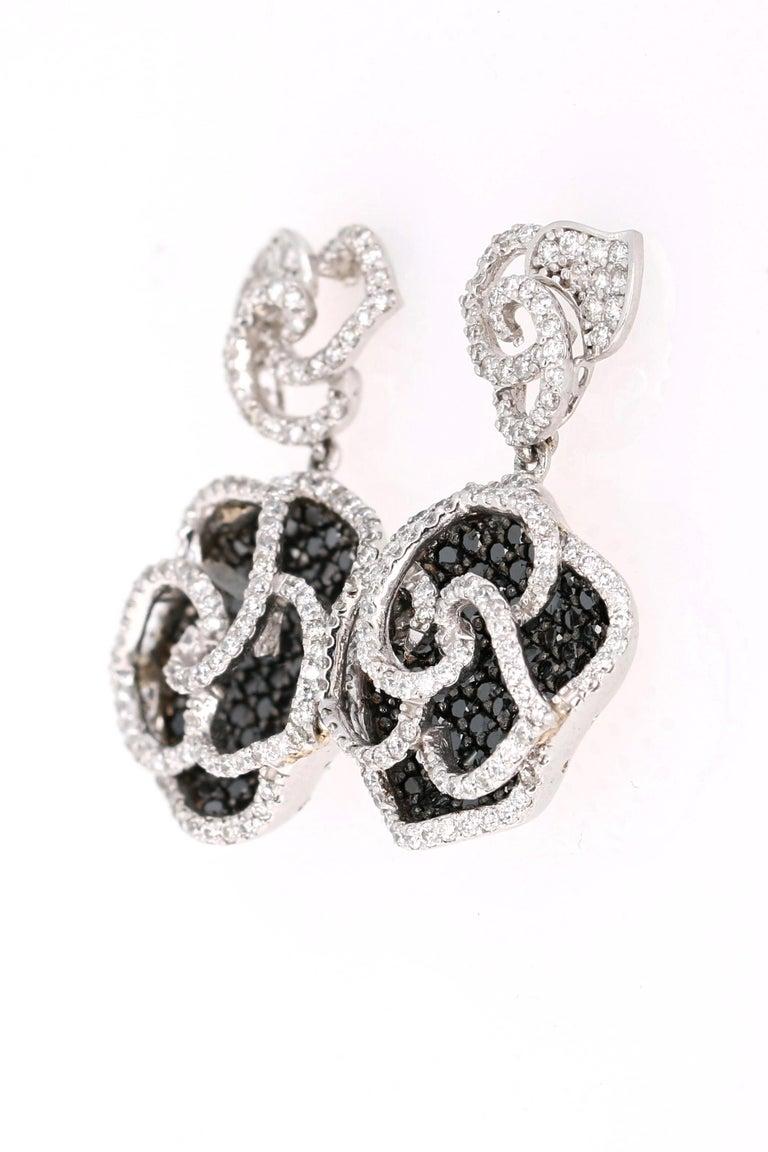 Modern 3.54 Carat Black and White Diamond 14 Karat White Gold Rose Shape Earrings For Sale