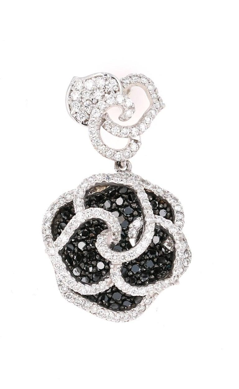 Round Cut 3.54 Carat Black and White Diamond 14 Karat White Gold Rose Shape Earrings For Sale