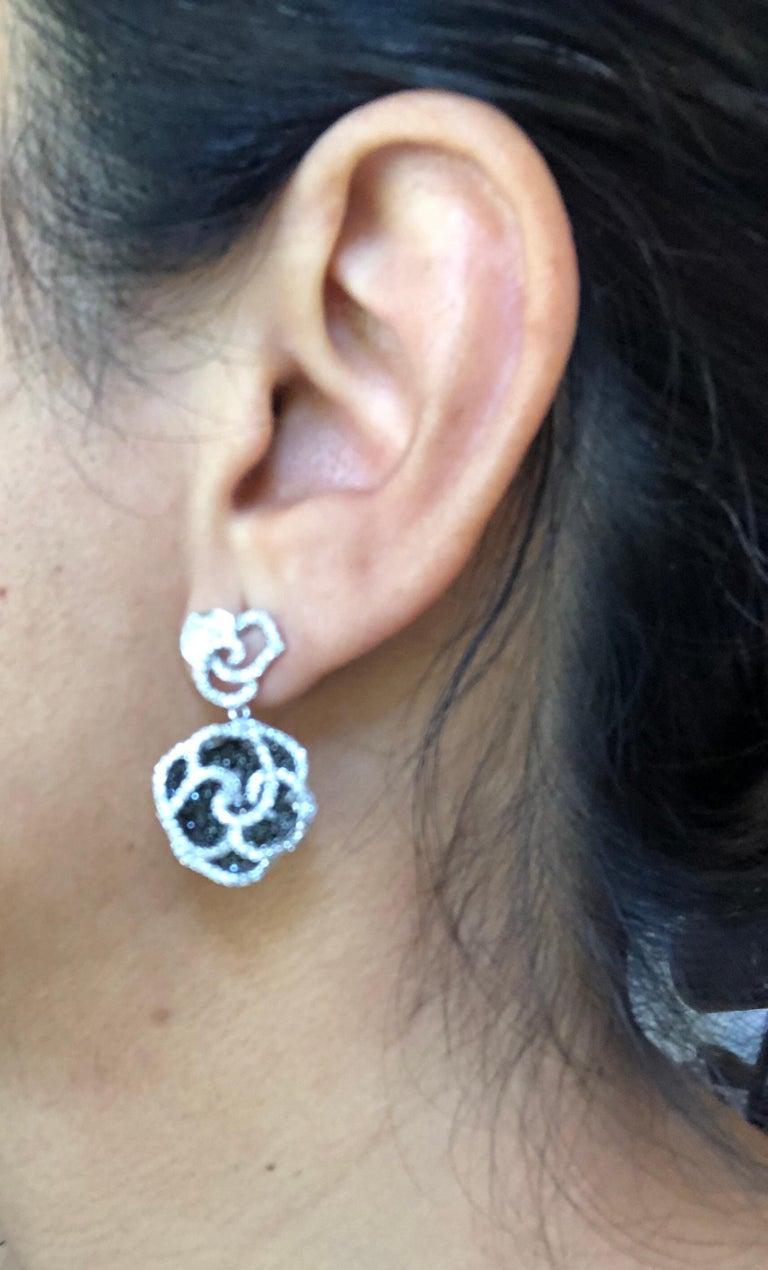 Women's 3.54 Carat Black and White Diamond 14 Karat White Gold Rose Shape Earrings For Sale