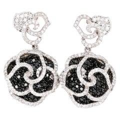 3.54 Carat Black and White Diamond 14 Karat White Gold Rose Shape Earrings